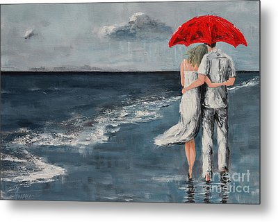 Under Our Umbrella - Modern Impressionistic Art - Romantic Scene Metal Print