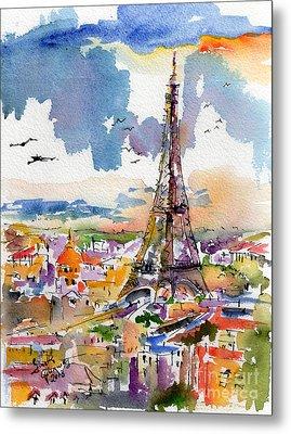 Under Paris Skies Eiffel Tower Metal Print