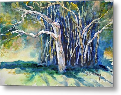 Metal Print featuring the painting Under The Banyan Tree by Sally Simon