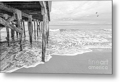 Under The Boardwalk Black And White Metal Print by Edward Fielding