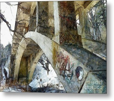 Under The Bridge  Metal Print by Janine Riley
