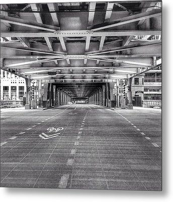 Chicago Wells Street Bridge Photo Metal Print by Paul Velgos