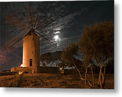 Vintage Windmill In Es Castell Villacarlos George Town In Minorca -  Under The Moonlight Metal Print by Pedro Cardona