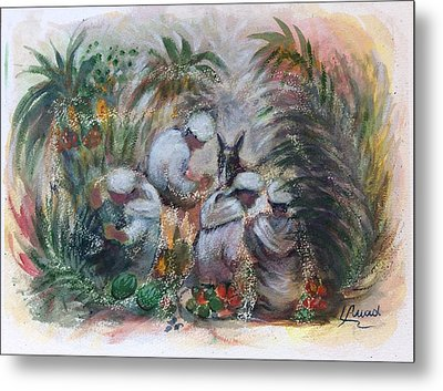 Metal Print featuring the painting Under The Palm Trees At The Oasis by Laila Awad Jamaleldin
