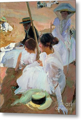 Under The Parasol Metal Print by Joaquin Sorolla y Bastida