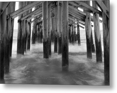 Under The Pier At Kure Beach Metal Print by Mike McGlothlen