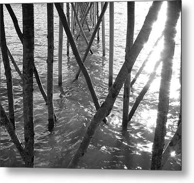 Metal Print featuring the photograph Under The Pier by Ramona Johnston