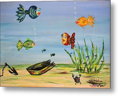 Metal Print featuring the painting Under The Sea by Debbie Baker