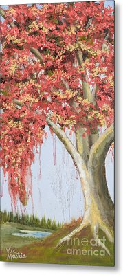 Under The Tree With Gold Leaf By Vic Mastis Metal Print