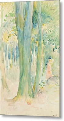 Under The Trees In The Wood Metal Print by Berthe Morisot