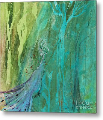 Metal Print featuring the painting Undercover Peacock by Robin Maria Pedrero