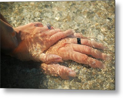 Metal Print featuring the photograph Underwater Hands by Leticia Latocki