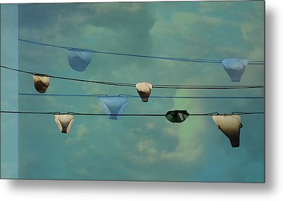 Underwear On A Washing Line  Metal Print
