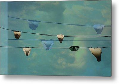 Underwear On A Washing Line  Metal Print by Jasna Buncic