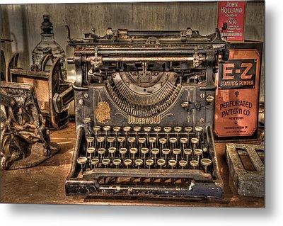 Underwood Typewriter Number 5 Metal Print by Debra and Dave Vanderlaan