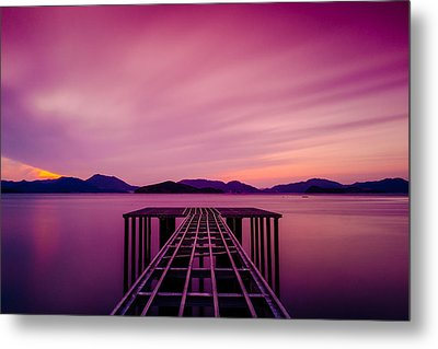 Unfinished Pier At Sunset Metal Print