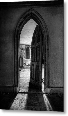 Unhinged - Old Gothic Door In An Abandoned Castle Metal Print by Gary Heller