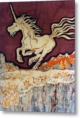 Unicorn Above Chasm Metal Print