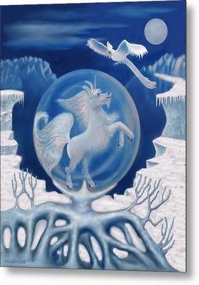 Unicorn In A Bubble Metal Print by Glenn Holbrook