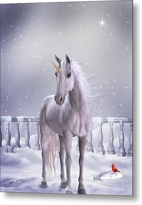 Metal Print featuring the digital art Unicorn In The Snow by Jayne Wilson