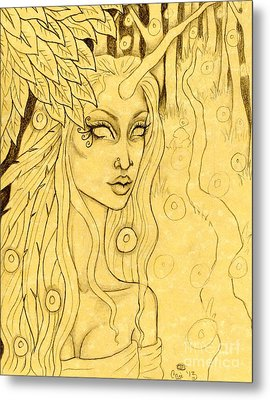 Unicorn In The Woods Sketch Metal Print by Coriander  Shea
