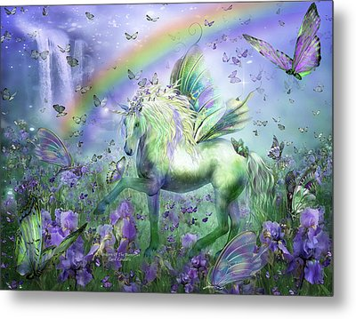 Unicorn Of The Butterflies Metal Print by Carol Cavalaris