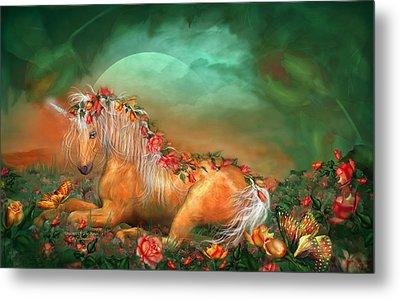 Unicorn Of The Roses Metal Print