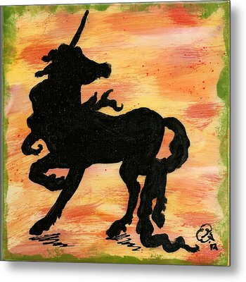 Unicorn On Watch Metal Print by Gail Schmiedlin