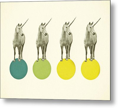 Unicorn Parade Metal Print by Cassia Beck