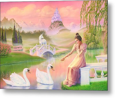 Unicorn Princess Swans On Lake Metal Print by Andrew Farley