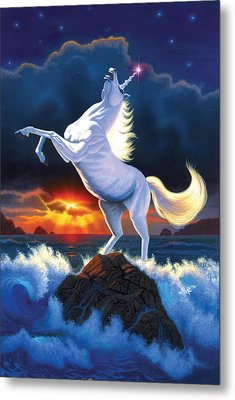 Unicorn Raging Sea Metal Print by Chris Heitt