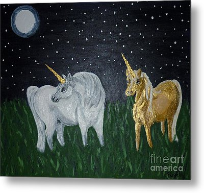 Metal Print featuring the painting Unicorns For Julie by Cassandra Buckley