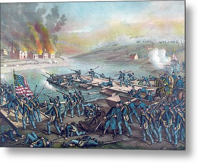 Union Forces Under Burnside Crossing The Rappahannock Metal Print