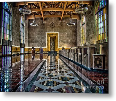 Union Station Interior- Los Angeles Metal Print by David Doucot