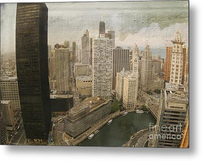 Vintage Unique Downtown Chicago View Digital Art Metal Print by Linda Matlow