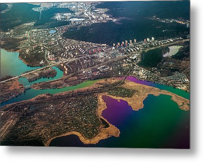 Unique Overview. Rainbow Earth Metal Print