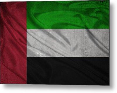 United Arab Emirates Flag Waving On Canvas Metal Print by Eti Reid