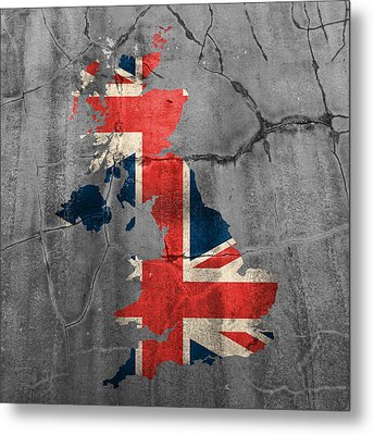 United Kingdom Uk Union Jack Flag Country Outline Painted On Old Cracked Cement Metal Print by Design Turnpike
