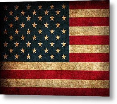 United States American Usa Flag Vintage Distressed Finish On Worn Canvas Metal Print by Design Turnpike