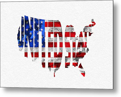 United States Typographic Map Flag Metal Print by Ayse Deniz