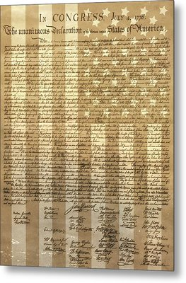 United States Declaration Of Independence Metal Print by Dan Sproul