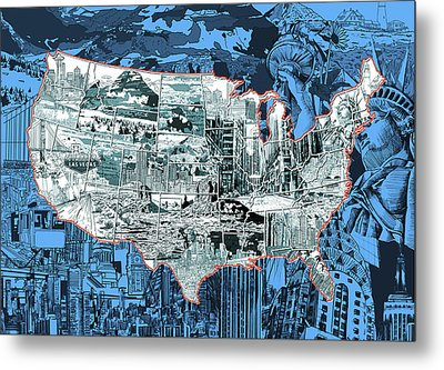 United States Drawing Collage Map 2 Metal Print