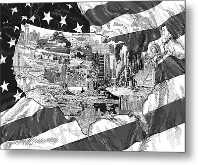 United States Drawing Collage Map 5 Metal Print