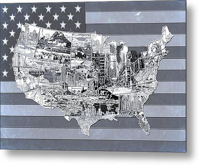 United States Flag Map 2 Metal Print
