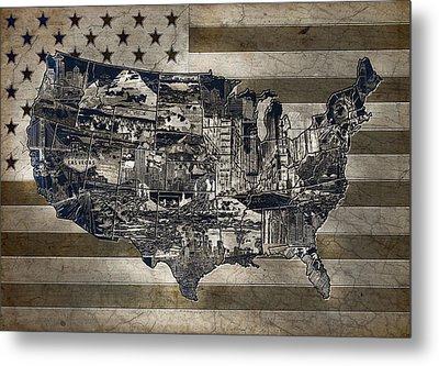 United States Flag Map Vintage 4 Metal Print