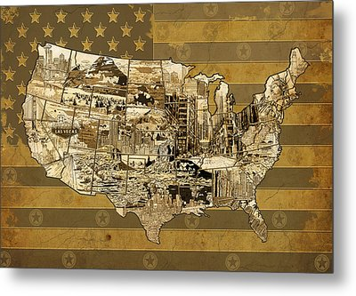 United States Flag Map Vintage Metal Print