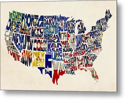 United States Flags Map Metal Print by Ayse Deniz
