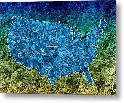 United States Floral Map 3 Metal Print