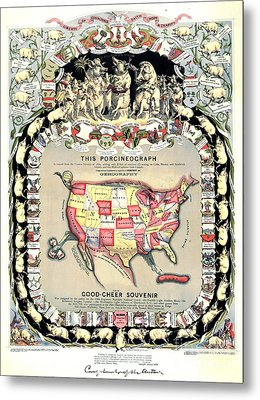 United States Map 1876 Metal Print by Padre Art