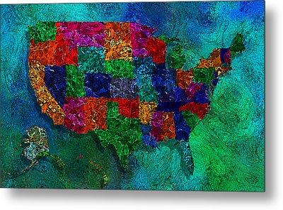 United States Map Metal Print
